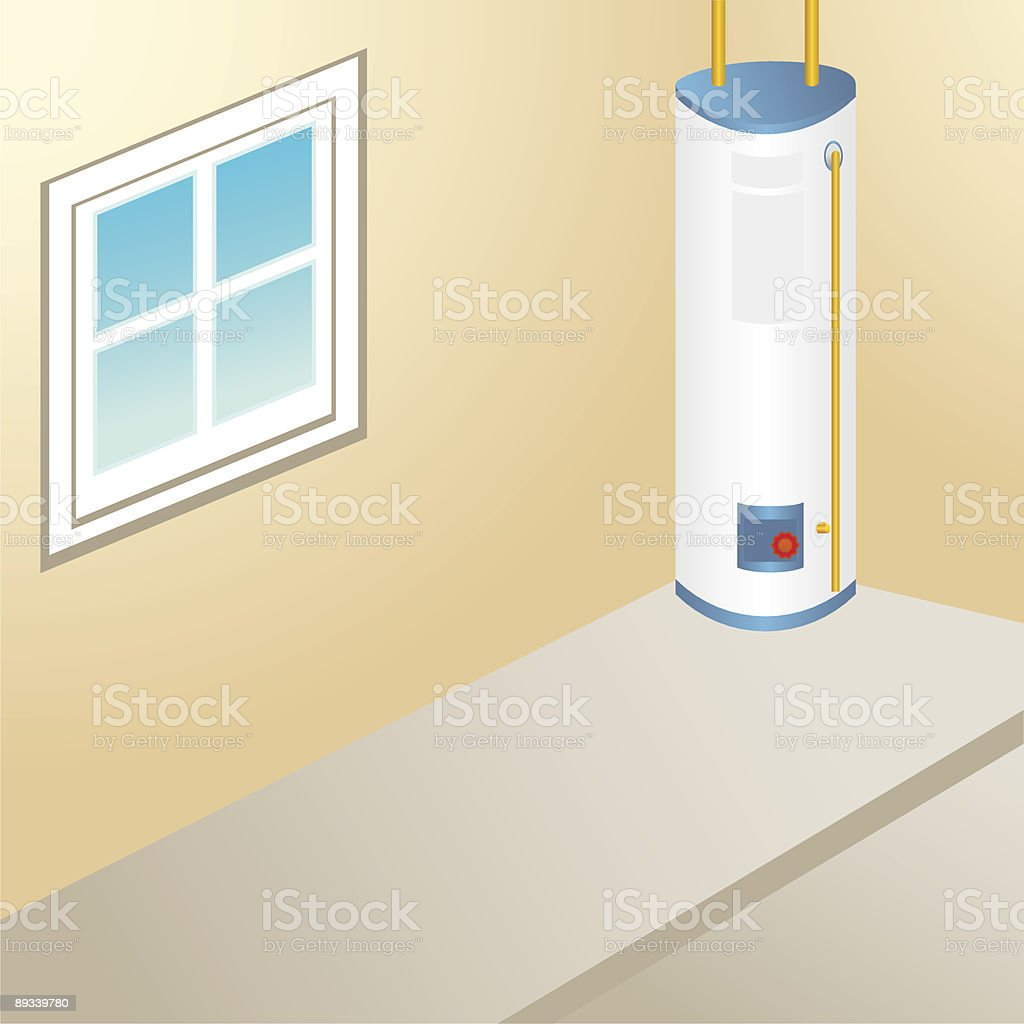 Residential water heater in the corner of a house royalty-free stock vector art