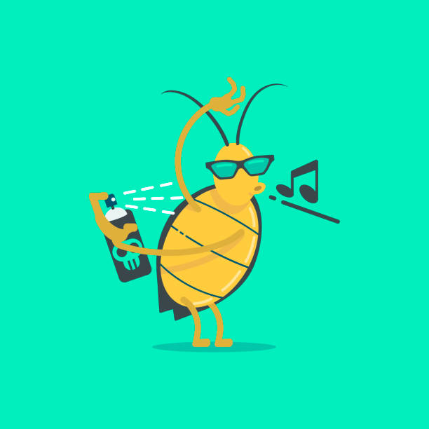 Resistance of an insect to pesticides. Flat illustration vector design. Resistance of an insect to pesticides. Pest species evolve pesticide resistance via natural selection: the most resistant specimens survive and pass on their genetic traits to their offspring. Flat illustration vector design. beetle stock illustrations