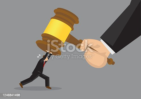 Tiny cartoon businessman character pushing hard against a giant gavel coming down at him. Creative vector illustration on resisting the final verdict concept.