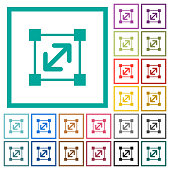 Resize element flat color icons with quadrant frames