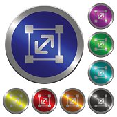 Resize element luminous coin-like round color buttons