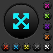 Resize full alt dark push buttons with color icons