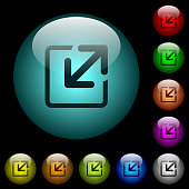 Resize window icons in color illuminated glass buttons