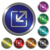 Resize window luminous coin-like round color buttons