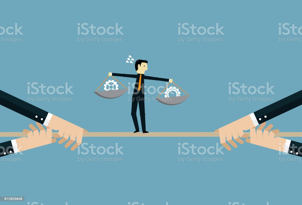 解決繩子上的糾結向量藝術插圖