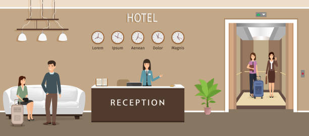resort hall interior design with woman employee, guests and elevator. hotel reception counter with receptionist. - hotel reception stock illustrations