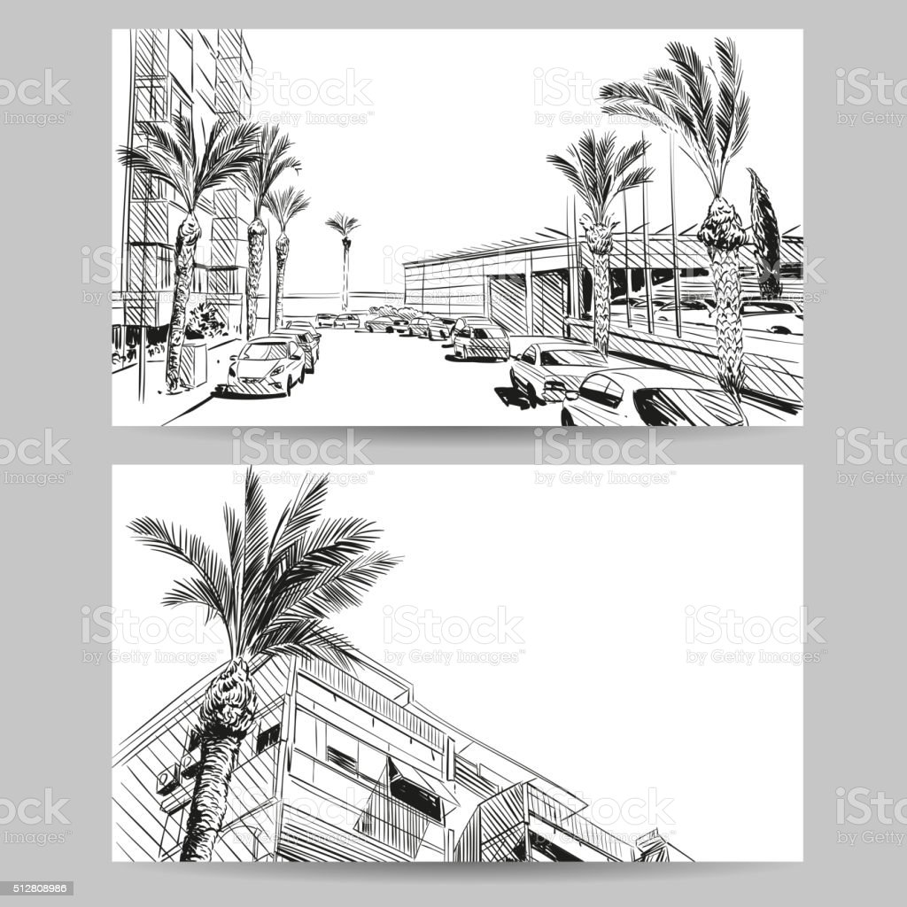 Resort hand drawn sketch, banner element design. Vector illustration vektör sanat illüstrasyonu