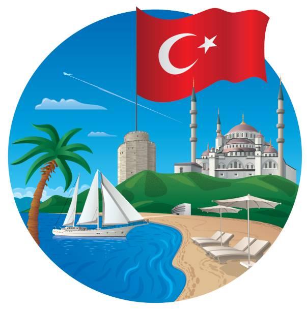 resort in turkey - alanya stock-grafiken, -clipart, -cartoons und -symbole