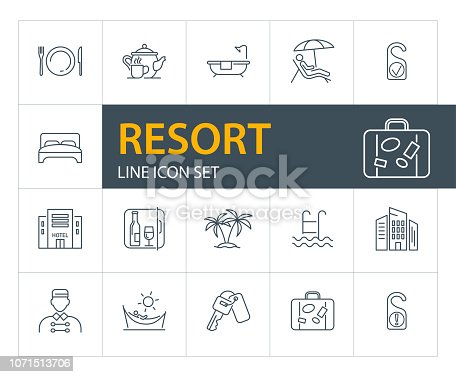 Resort line icon set. Bathroom, bedroom, beach. Tourism concept. Can be used for topics like vacation, travel, hotel service