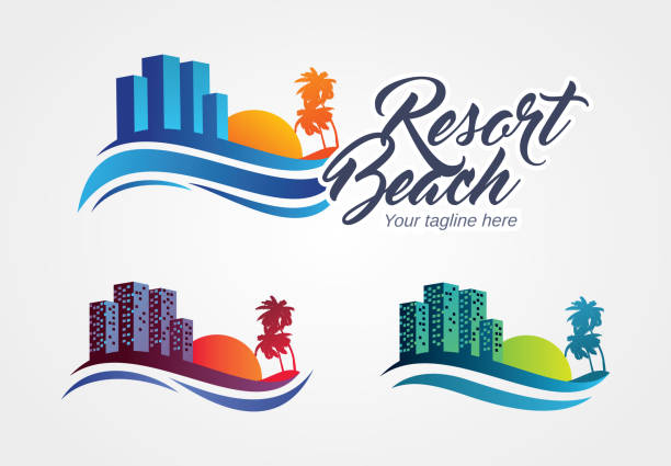 resort-vektor-illustration - urlaubsorte stock-grafiken, -clipart, -cartoons und -symbole