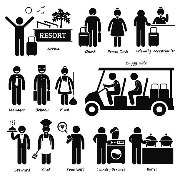 resort villa-hotel tourist arbeiter und services pictogram - bürorezeption stock-grafiken, -clipart, -cartoons und -symbole