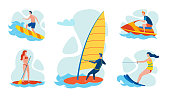 Resort Beach Water Entertainments Flat Vector Set. Man Surfing on Sea Waves, Riding Windsurf and Personal Watercraft or Scooter, Woman in Swimsuit Paddle Surfing, Enjoying Water Skiing Illustration