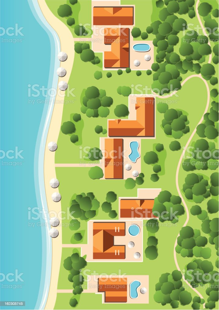 Resort with Coastline vector art illustration