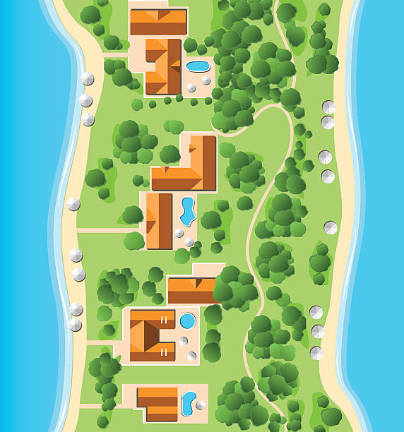Resort with Coastline Aerial View of a Suburb with Coastline. villa stock illustrations