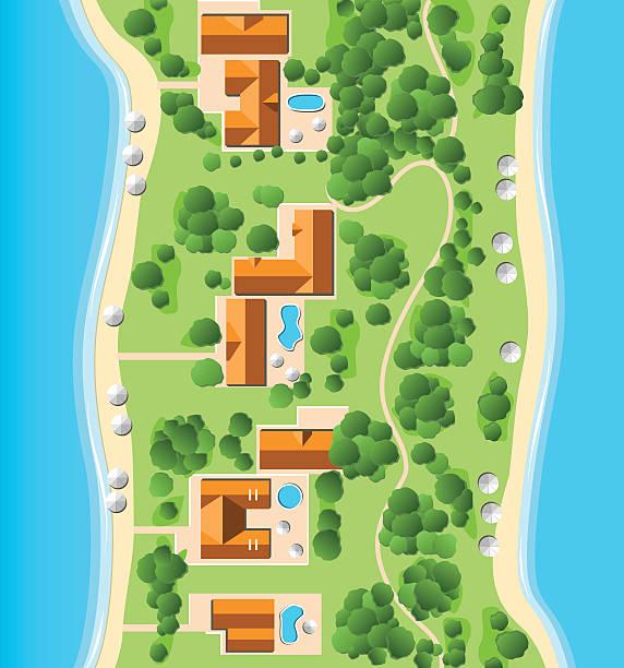 resort mit küste - villas stock-grafiken, -clipart, -cartoons und -symbole