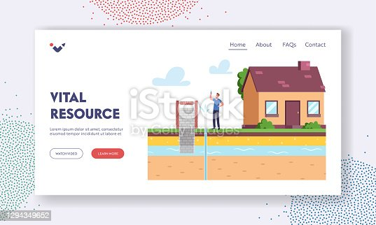 Resource Extraction Landing Page Template. Male Character at House Front Yard Holding Test Tube with Aqua Sample Testing Groundwater or Artesian Water for Well Drilling. Cartoon Vector Illustration