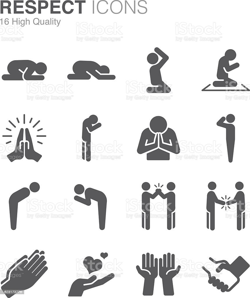Respect, reverence and veneration icons vector art illustration