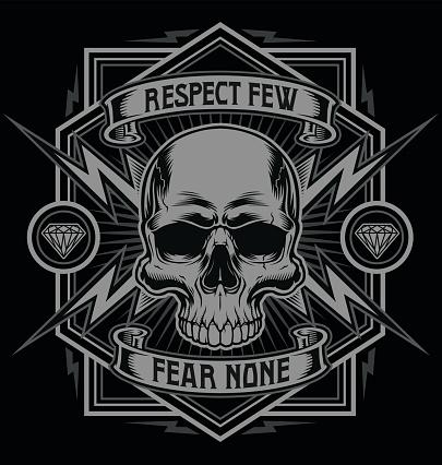 Respect skull with lightning graphic