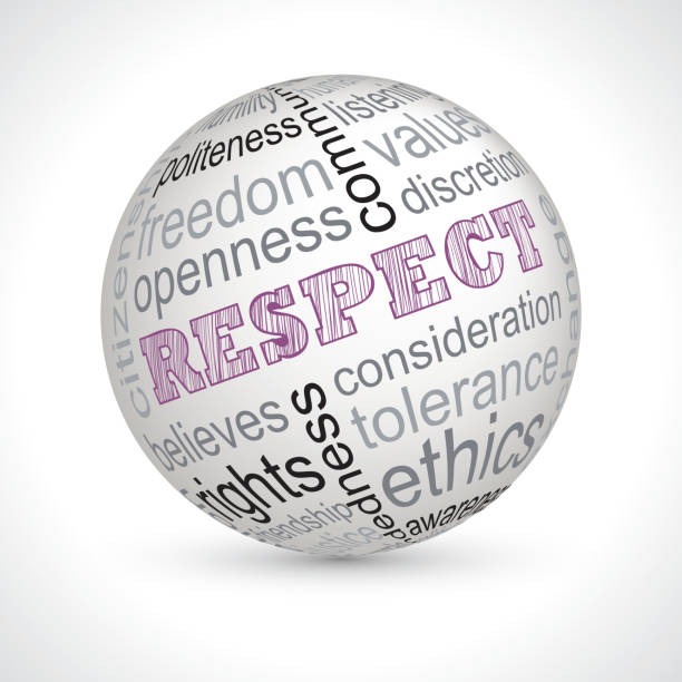 Respect theme sphere with keywords Respect theme sphere with keywords full vector dignity stock illustrations
