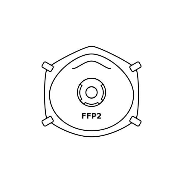 ilustrações de stock, clip art, desenhos animados e ícones de ffp2 respirator face mask line icon. corona virus or dust protection. black outline on white background. - ffp2