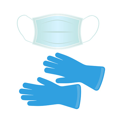Respiratory medical respiratory mask and gloves.Protection from the virus. Hospital or environmental pollution protects the face mask.