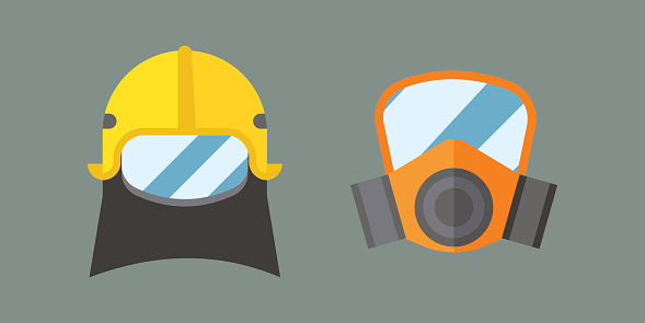 Respiratory protection mask vector illustration protection tool industry safety for human organs