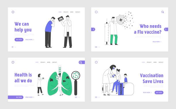 ilustraciones, imágenes clip art, dibujos animados e iconos de stock de conjunto de páginas de aterrizaje del sitio web de examen del sistema respiratorio e inmunización de la salud. tratamiento de la salud y la tuberculosis, banner de la página web de vacunación de niños. ilustración vectorial plana de dibujos animados, - social media