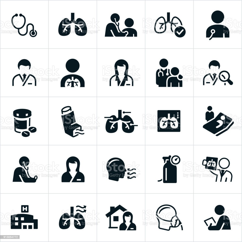 Respiratory Therapy Icons vector art illustration