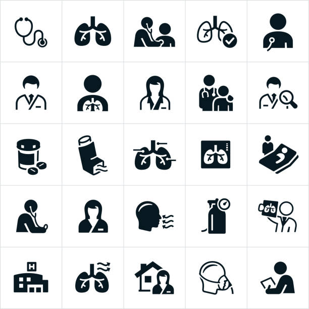 Respiratory Therapy Icons A set of respiratory therapy or pulmonary medicine icons. The icons include lungs, stethoscope, checkup, doctor, healthcare professionals, patients, nurse, medication, inhaler, x-ray, oxygen tank, hospital, home health, oxygen mask and other related icons. inhaling stock illustrations