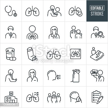 A set of respiratory therapy icons that include editable strokes or outlines using the EPS vector file. The icons include respiratory therapists, stethoscope, human lungs, doctor using stethoscope to check breathing of patient, medical checkup, male doctor, female doctor, medication, inhaler, x-ray of lungs, patient sick in bed, nurse, person breathing, oxygen tank, doctor reviewing x-ray of lungs, hospital, team of doctors, oxygen mask and a checklist to name a few.
