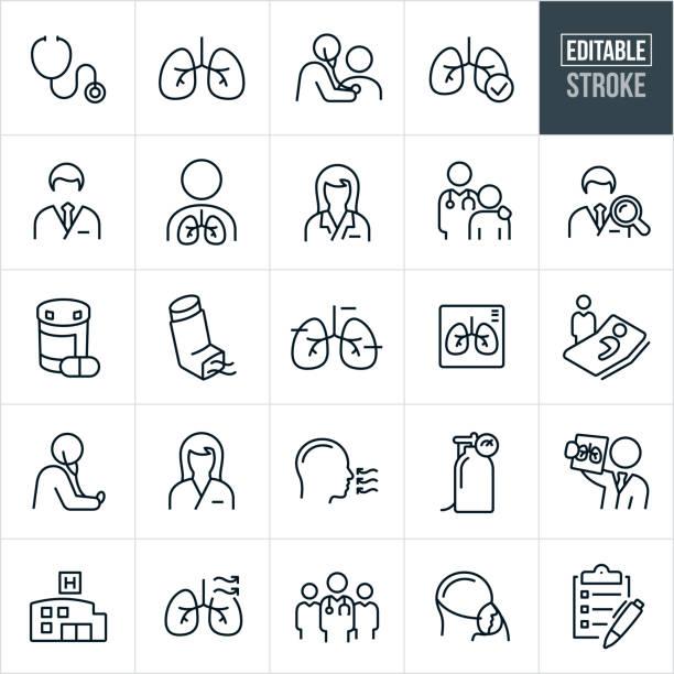호흡 치료 얇은 선 아이콘 - 편집 가능한 스트로크 - doctor stock illustrations