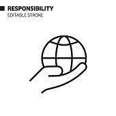 Responsibility Line Icon, Outline Vector Symbol Illustration. Pixel Perfect, Editable Stroke.