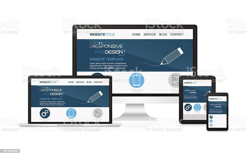 Responsive design and web devices. vector art illustration
