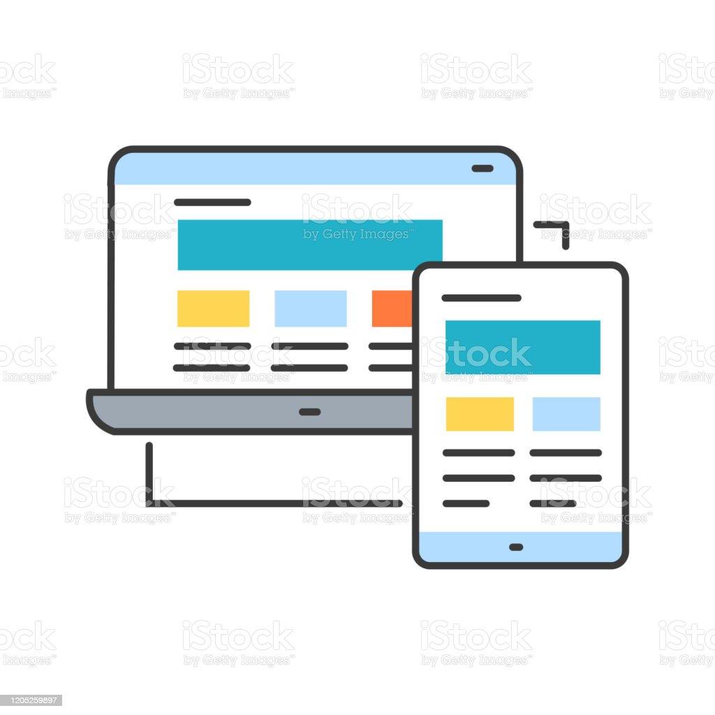 Vetores De Icone De Linha De Cores De Design Responsivo Abordagem Para O Design Web Que Faz Com Que As Paginas Da Web Se Tornem Bem Em Uma Variedade De Dispositivos E