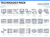 Responsive Design Icons Set. Technology outline icons pack. Pixel perfect thin line vector icons for web design and website application.