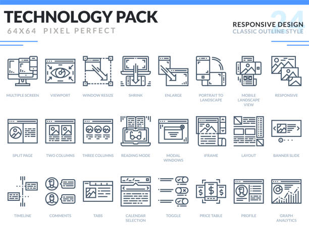 Responsive Design Icons Set. Technology outline icons pack. Pixel perfect thin line vector icons for web design and website application. vector art illustration