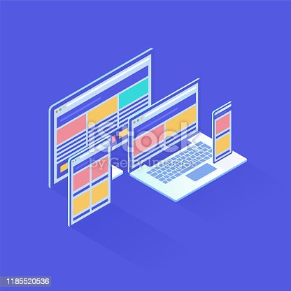 Responsive Design in isometric vector illustration