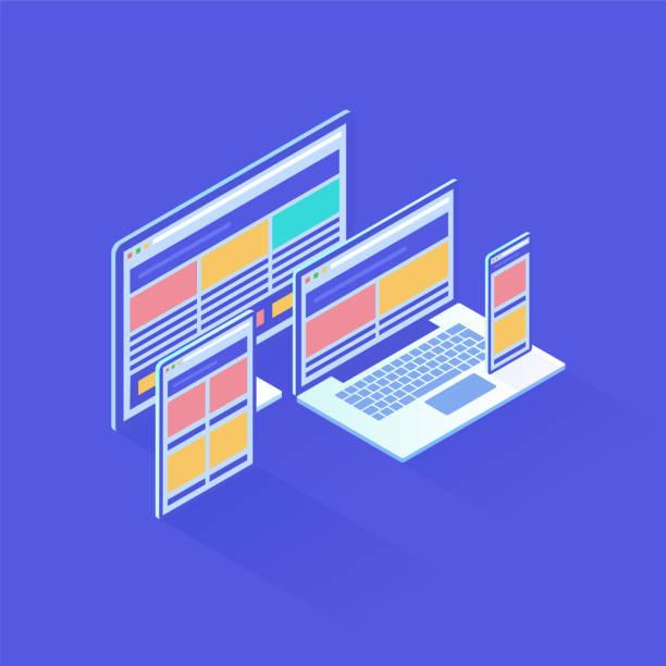 Responsive Design in isometric vector illustration Responsive Design in isometric vector illustration web design stock illustrations