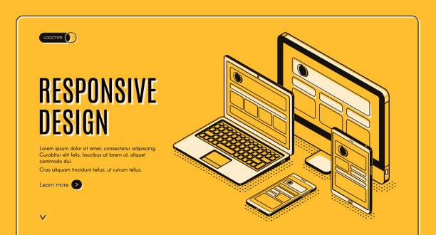 Responsive design landing page, page construction vector art illustration