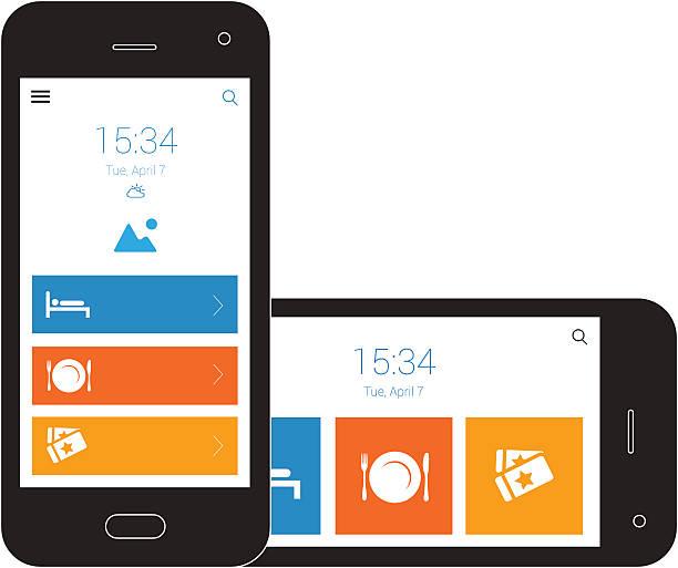 responsive design mobile gitternetzlinien - tablet mit displayinhalt stock-grafiken, -clipart, -cartoons und -symbole