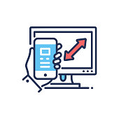 Responsive Design - modern vector line design icon.