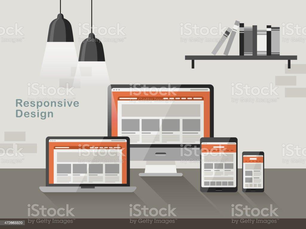 responsive design on different devices in flat design vector art illustration