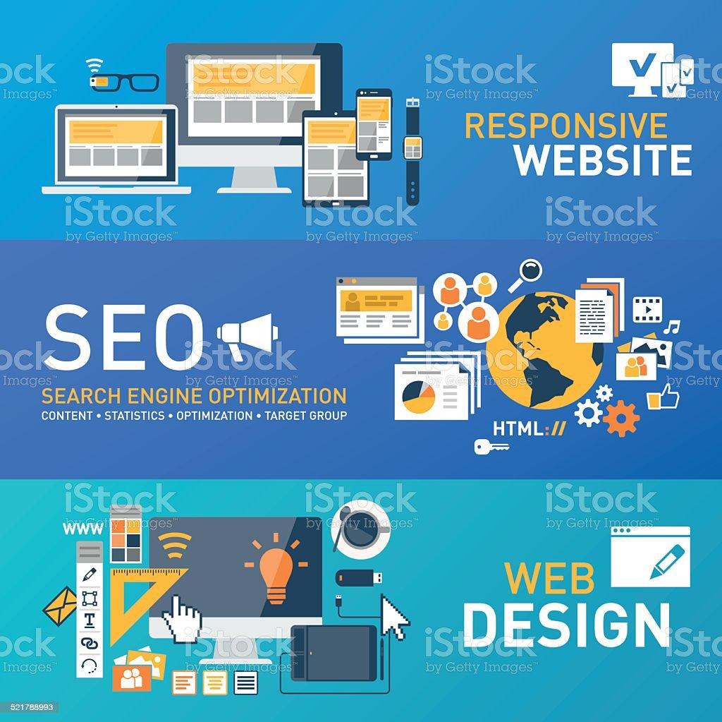 Responsive design - SEO - webdesign vector art illustration