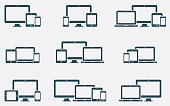 Responsive digital devices icons set
