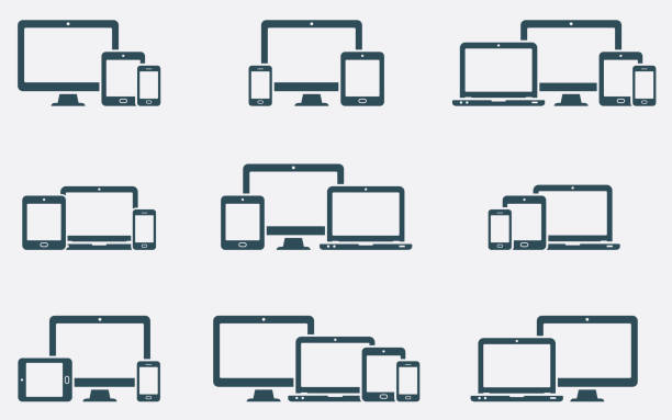 Responsive digital devices icons set Responsive web design icons in different positions collaboration stock illustrations