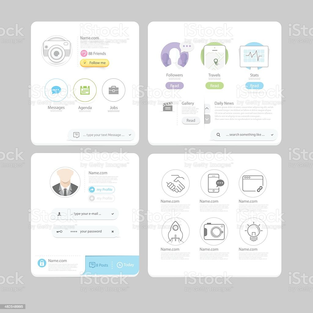 Responsive flat ui elements for website and mobile template stock responsive flat ui elements for website and mobile template royalty free responsive flat ui elements malvernweather Choice Image