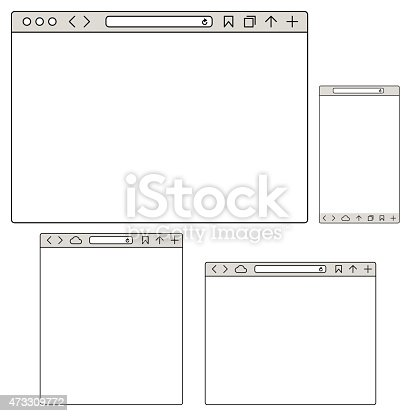 Vector illustrations of a group of responsive Internet browsers mockups in different sizes for desktop computers, tablet and mobile devices.