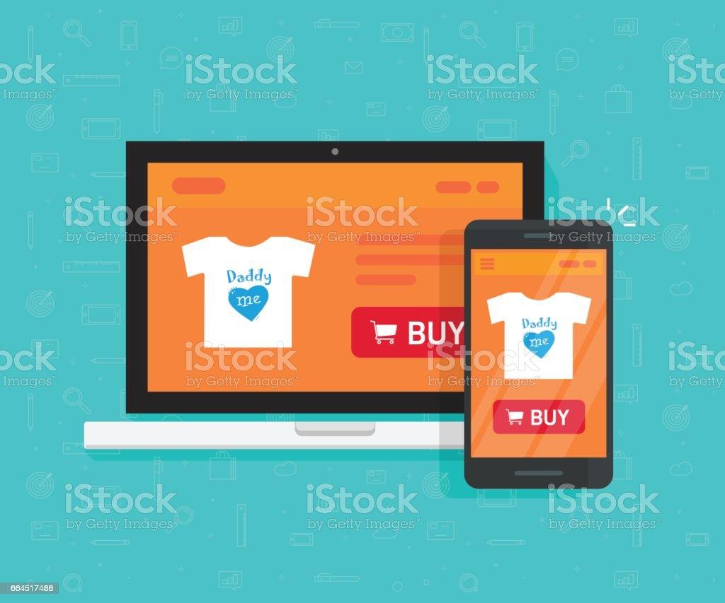 Internet réactif catalogue développement, design, boutique en ligne site web page montrait sur ordinateur portable et smartphone - Illustration vectorielle