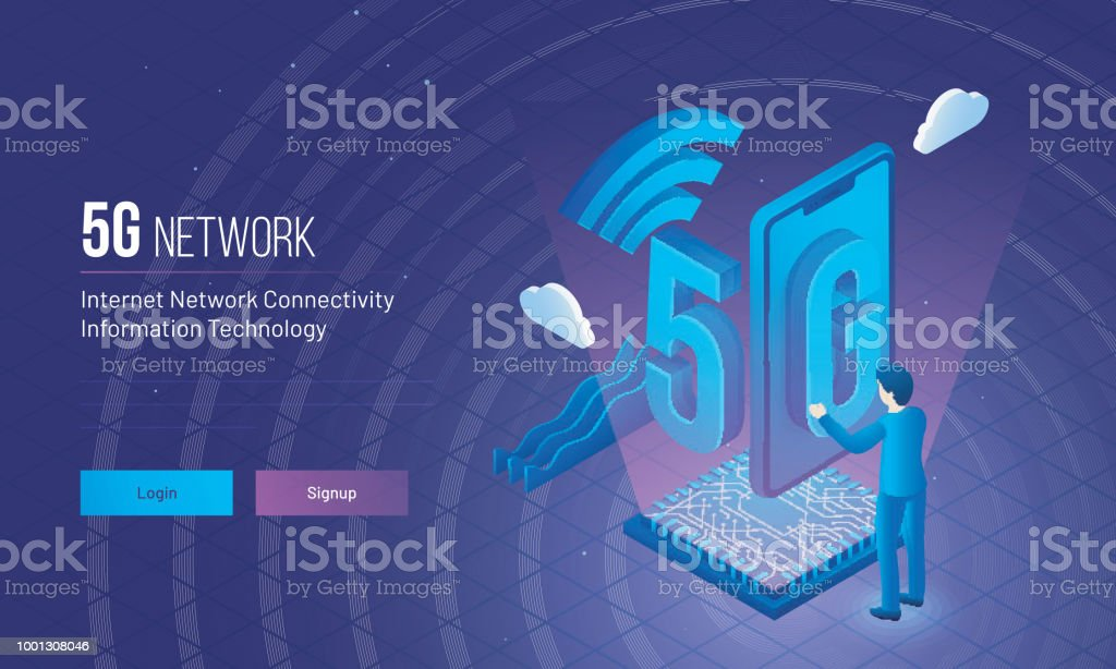 Responsive landing page design with isometric illustration of an engineer or developer establish wireless 5g network for internet network connectivity concept. vector art illustration