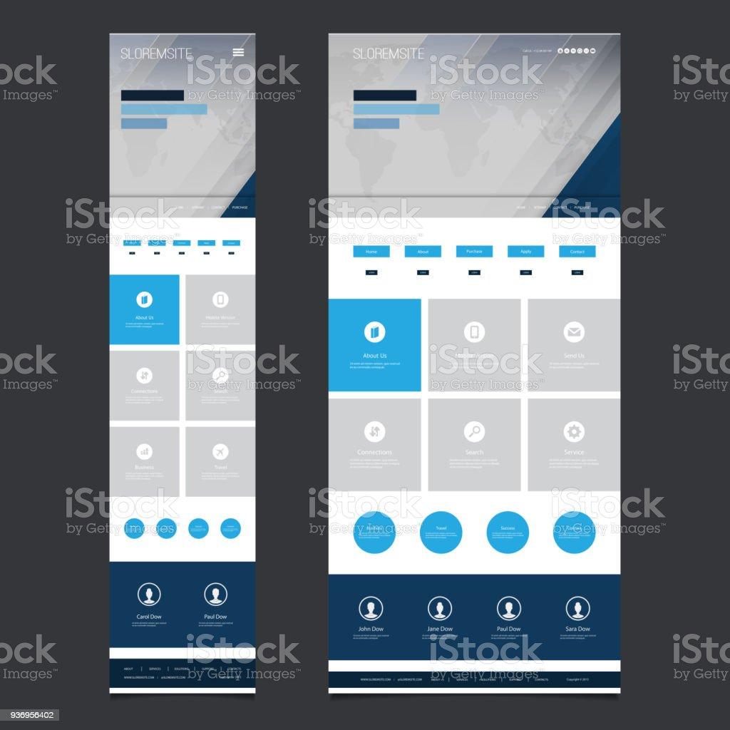 Responsive One Page Website Template - illustrazione arte vettoriale